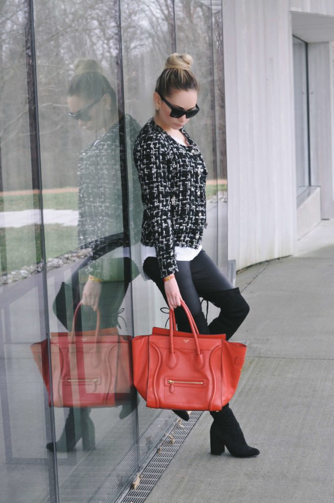 reflection red celine bag boots