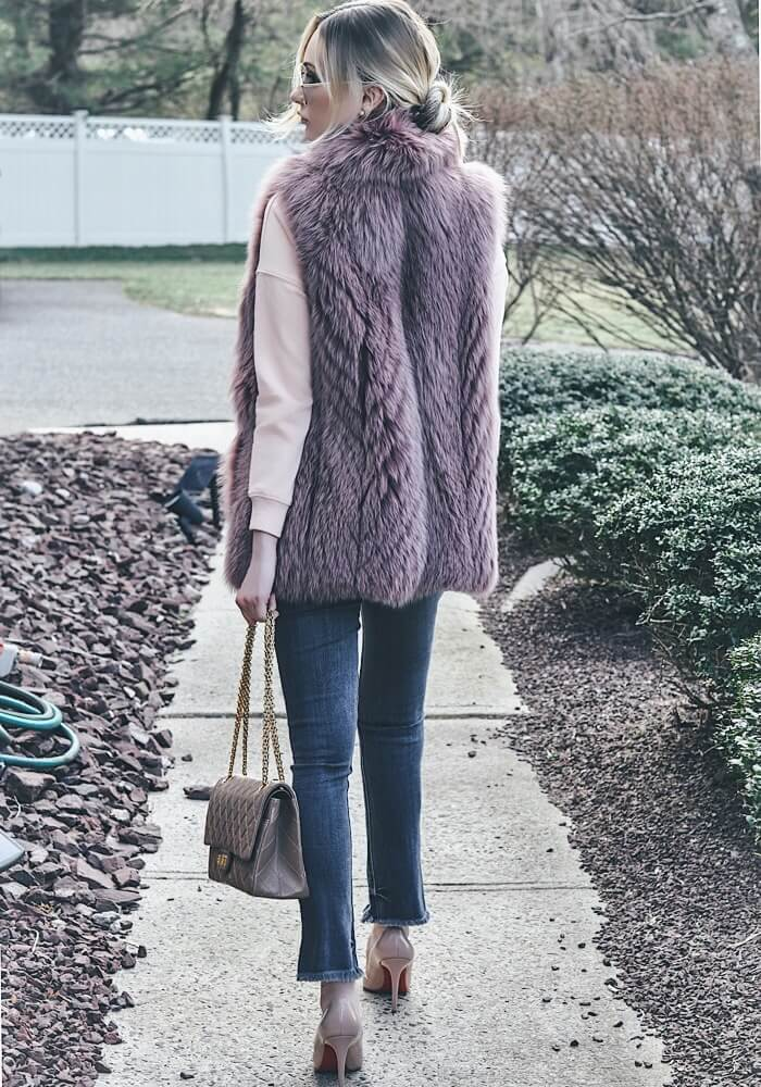 nude chanel bag blush fur vest