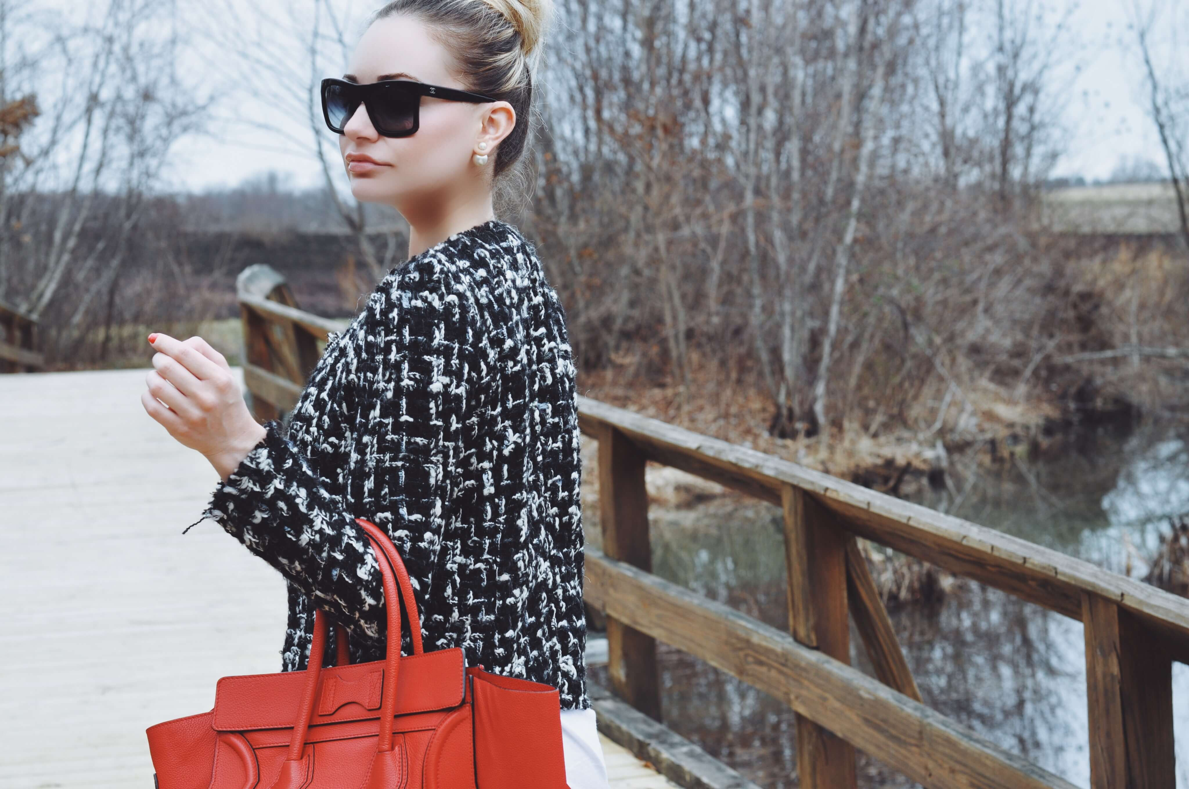 Red celine tweed jacket chanel sunglasses