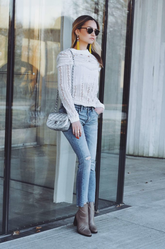white top denim ankle boots