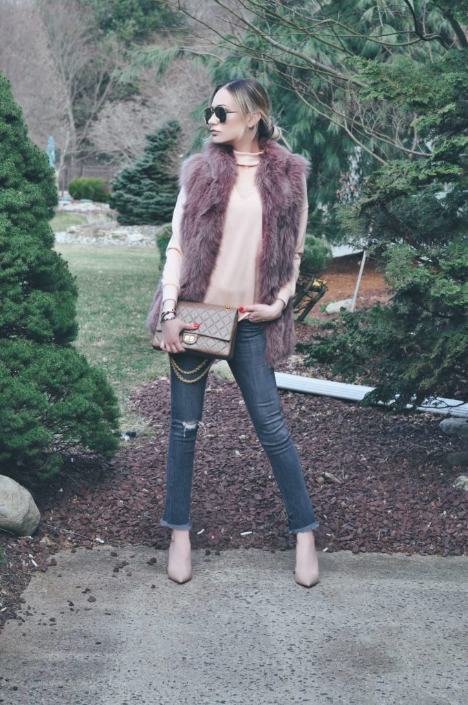 Blush fur vest cropped jeans