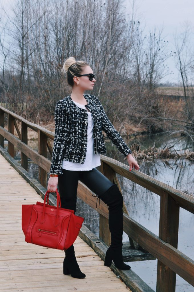 top knot leather leggings boots