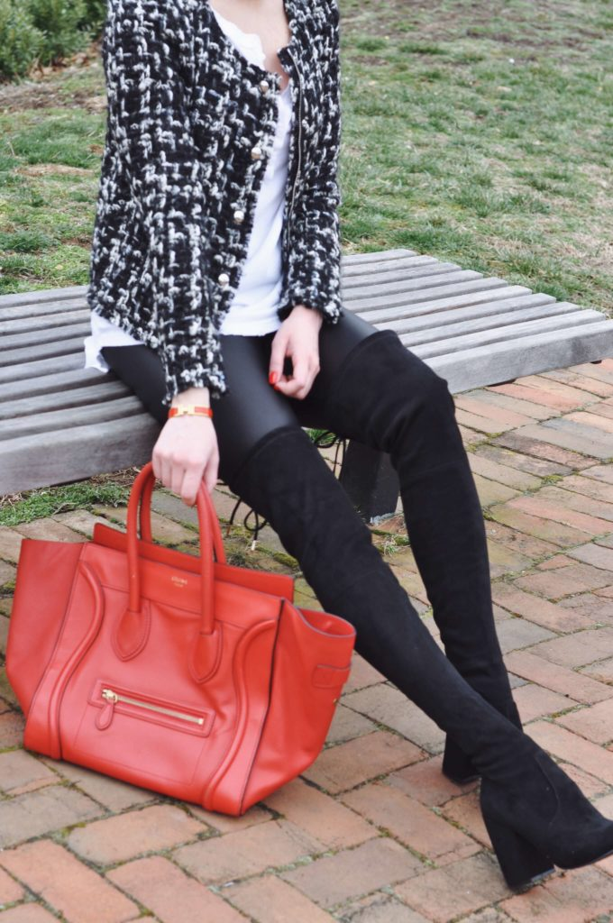 red celine bag black boots