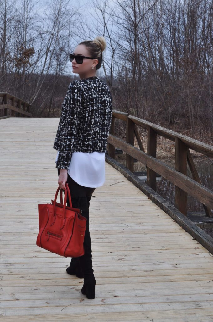 tweed jacket red celine bag white henley