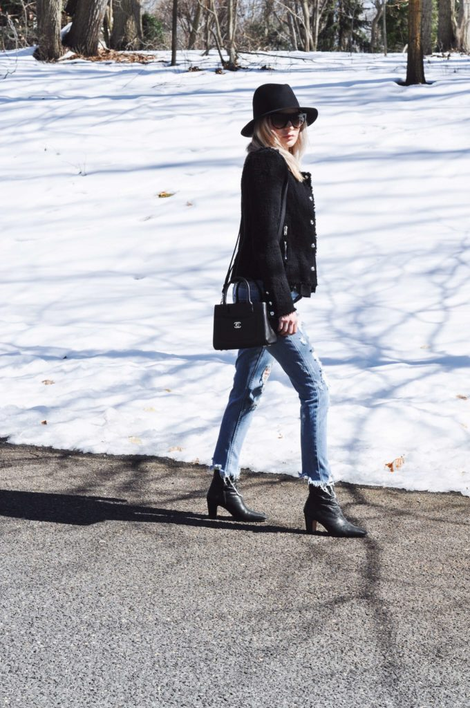 ripped jeans iro booties black jacket