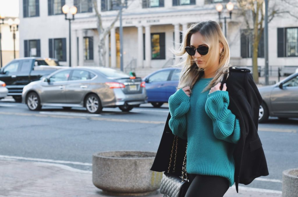 turquoise sweater jacket over