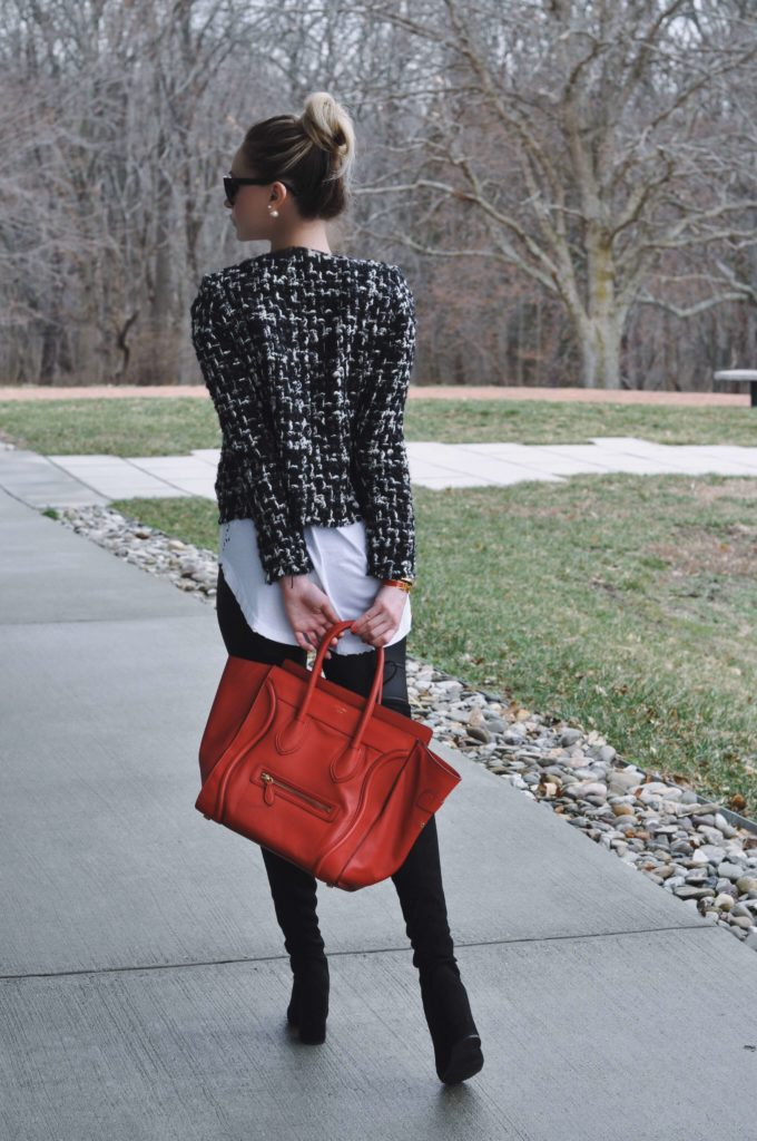 tweed jacket red celine bag