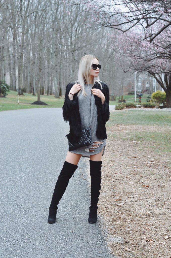 grey tunic black over the knee boots