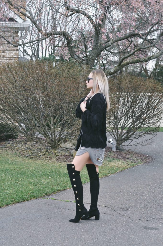 fringe jacket over the knee boots studs